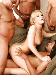 A meeting of the minds it's not, but a meeting for sure! Five black dicks are meeting one pink pussy and one tight asshole for one extreme interracial gangbang! These guys be pimpin' and this bitch be gettin' all of her holes stuffed and then some! Five h