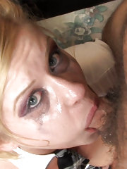 Innocent blonde skank gets facialized