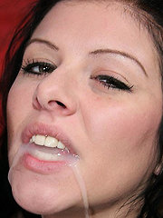 Jizz drips down hot brunettes chin after riding a thick dick