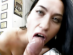 Dark hair slut giving a POV blowjob before getting fucked