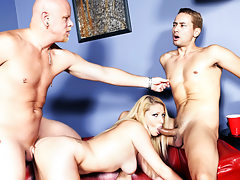 Threesome bisexual scene with two guys and a hot ass slut!
