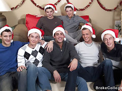 It's an eight boy Christmas orgy with these Broke College Boys.