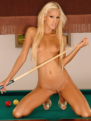 Real sexy teen Boroka masturbating on a pooltable