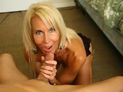 Big titted granny Erica loves young Billy. The perverted granny strokes and jerks off his throbbing young cock.