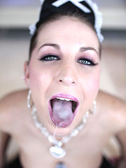 naughty maid sucks cock and swallows huge load of cum