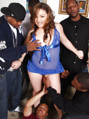 Barely legal teen in interracial gangbang 6-on-1