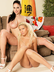 Sexy lesbian slumber party with Gianna Michaels and Aubrey Adams