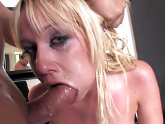 Cockhungry blonde is ready for real deepthroat action