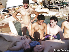 The heat gets turned up as these college boys start sucking each others cocks in the spa.