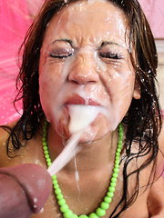 Amazing Mia Lelani receives sticky load of cum over her face