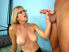 Mrs. Jameson loves making young guys nut. Ever since her divorce, the perverted mom will stroke any young cock she can get her hands on. When she meets Jonny, she tries to get him back to her place. Mom Jade Jameson spit shines and jacks his cock and begs