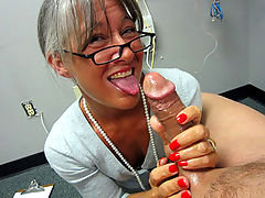 Over 40 milf strokes and handjobs a young stud