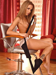 Verona loves showing off her long legs to men