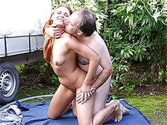 Redhead banged by old man