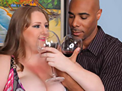 Reuniting with an old friend can lead to many possibilities. But when you get together with a freak like Sapphire you better be ready to step up to this hot and heavy BBW. After a nice glass of wine our studs eyes start to fall into some epic cleavage. Sa