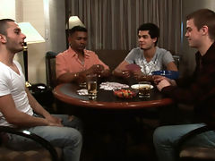 A four man game of hearts turns into talk about first time sexual experiences -as the men move over from the table to the couch they begin feeling out each others' cocks for the first time. Their innocent experimentation leads to their fullest pleasure as
