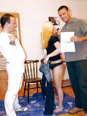 Blonde girl signs a contract to lick two guys asses for cash