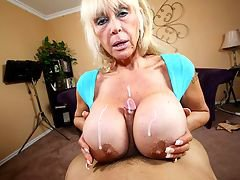 Perverted Granny catches Jimmy staring at her whopping 44JJJ juggs again, this time he has a raging boner that needs to be relieved. Granny Shelly sighs, because she knows she has to help him bust his nut. See Granny Shelly whip out her tits and jack off