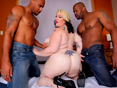 Glory Foxxx is alot of woman to handled so we bring in two big black cock for her to play with.