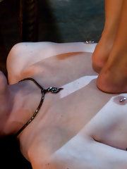 Exotic dominatrix makes slave into foot worshipping whore then covers dick with huge humiliating cock sheath so he can't feel a thing!