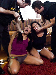 Two girls house raided and rough bondage sex by cops.