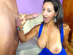 Young Billy loves masturbating to his hot milf neighbor Persia Minor. Mrs. Minor knows Billy is beating off to her, and decides to stop by to surprise him. Persia coaxes Billy to keep jerking while she watches. Billy begs for a mature hand job and titty f