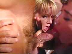 Hot vintage threesome with classic pornstars in here