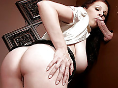 Gianna Michaels looks a little stressed and needs to relieve some of it by confessing her sins. She finds the gloryhole hidden behind the screen. Licking her lips she peers through, it gets even hotter than before. Gianna slowly unbuttons her top and sque