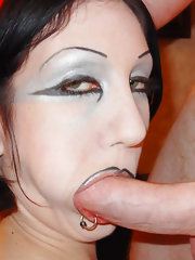 Gothic sex fiend fucks and sucks before getting a face full of nut