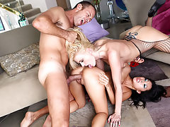 Beautiful asian chick joins Rocco and his friend for a fuck!
