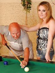 Old George screwed young blond on the pool table