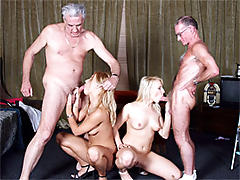 Two blondes pleasing old men