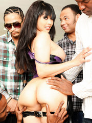 Magnificent Mika was a lascivious leather maiden who loved to dish out some self punishment but had forgotten the pussy pounding power of the pecker-pole! Lucky for her, the Gang Bang Squad shows up to pack her every hole with bodacious black dick and to