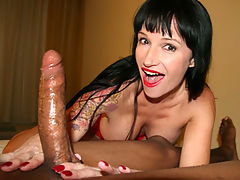 Sexy over 40 Mom Angie Noir loves stroking giant boners. So much so the perverted housewife will jack any man she sees. When she spots John, she immediately pulls out his pud and starts stroking. The cum crazed milf will stop at nothing to see him bust hi