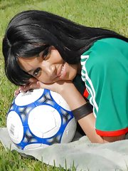 Horny little bruneete latina ges her snatch pounded hard in these amazing soccer pics and video
