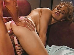 Blonde Enjoys Getting Fucked While Inserting Dildo In Pussy