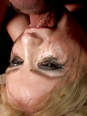 Blonde whore gets gagged and pussy stuffed