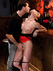 Jennifer White ass fucked and dominated in bondage by bartender.