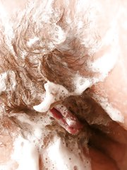 Sexy natural girl Helen feels so dirty from getting nasty, that she has to have a shower. Once again she finds her self horny and playing with her soapy warm bush.